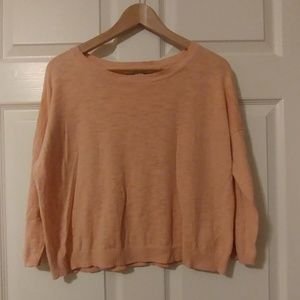 Peach 3/4 Sleeve Crop Top